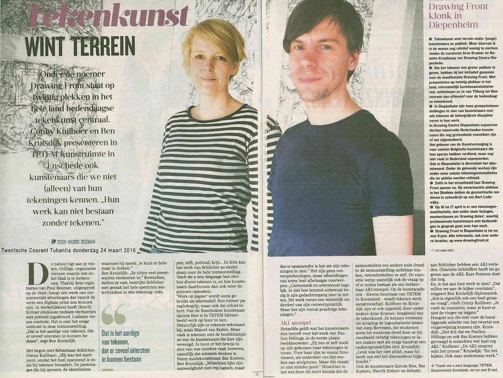 "Tubantia ""tekenkunst wint terrein"", Ingrid Bosman 24-03-2016"